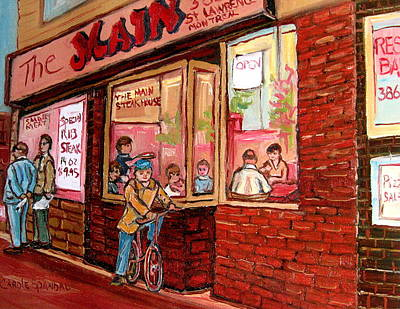 Dinner At The Main Steakhouse Print by Carole Spandau