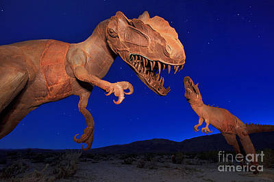 Dinosaur Battle In Jurassic Park Print by Sam Antonio Photography