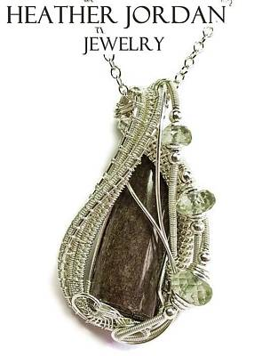 Sterling Silver Jewelry - Dinosaur Bone Pendant In Sterling Silver With Prasiolite And Chain Dinopss4 by Heather Jordan