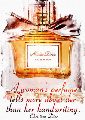 Dior Perfume Greeting Card Print by Diana Van