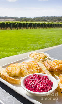 Grapevines Photograph - Dip Platter At Tasmania Winery Restaurant  by Jorgo Photography - Wall Art Gallery