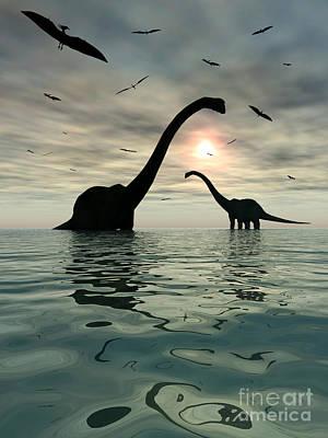 Diplodocus Dinosaurs Bathe In A Large Print by Mark Stevenson