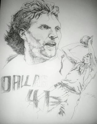 Dirk Drawing - Dirk Nowitzki by Otis  Cobb