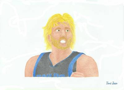 Dirk Drawing - Dirk Nowitzki  by Toni Jaso