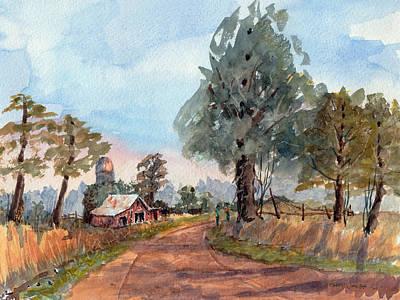 Dirt Road Farm - Watercolor Original by Barry Jones