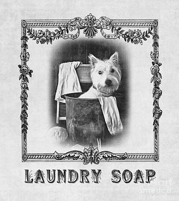 Westie Terrier Photograph - Dirty Dog Laundry Soap by Edward Fielding