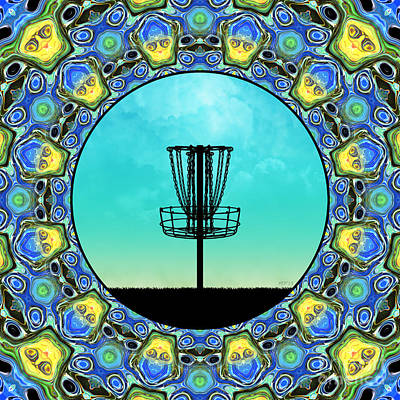 Abstract Digital Art - Disc Golf Abstract Basket 5 by Phil Perkins