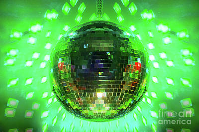 Purple Photograph - Disco Ball Green by Andee Design