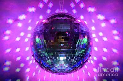 Disco Photograph - Disco Ball Magenta by Andee Design