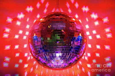 Disco Photograph - Disco Ball Red by Andee Design