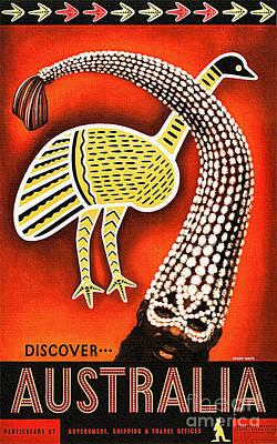 Emu Digital Art - Discover Australia - Vintage Travel Poster by Ian Gledhill