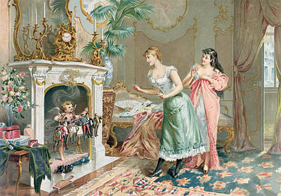 Prostitutes Painting - Discovering Their Christmas Gifts by French School