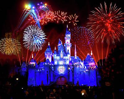 Blue Fireworks Photograph - Disneyland 60th Anniversary Fireworks by Mark Andrew Thomas