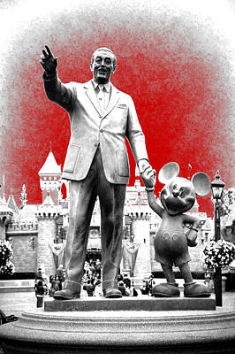 Disneyland Partners Statue Pa Red Print by Thomas Woolworth