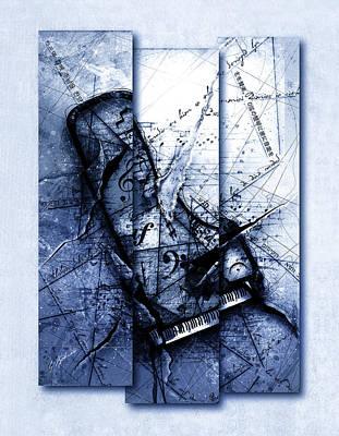 Dissonance In Blue Print by Gary Bodnar