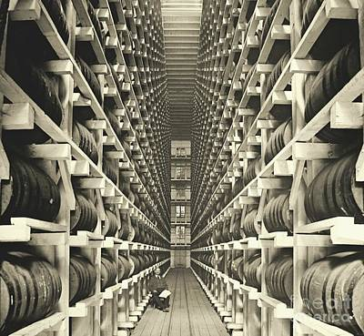 Alcoholic Beverages Photograph - Distillery Barrel Racks 1905 by Padre Art