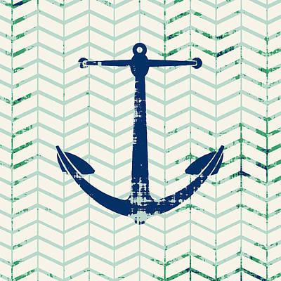 Beach Mixed Media - Distressed Navy Anchor V2 by Brandi Fitzgerald