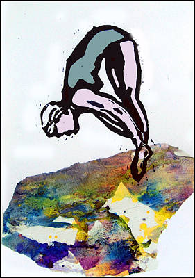Lino Mixed Media - Dive - Evening Pool by Adam Kissel