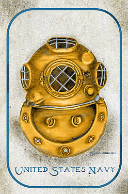 Cast Iron Drawing - Dive Helmet by Larry Scarborough