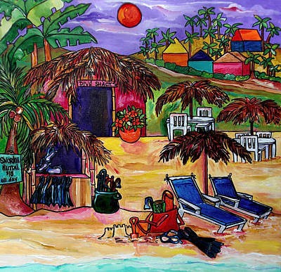 Sand Castles Painting - Dive Shack by Patti Schermerhorn
