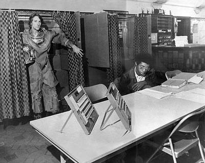 Diver Takes Time Off To Vote Print by Underwood Archives