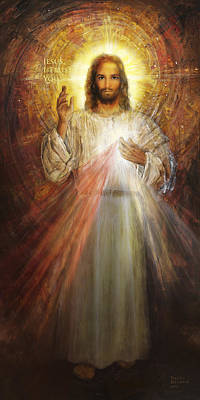 Shrine Painting - Divine Mercy, Sacred Heart Of Jesus 1 by Terezia Sedlakova Wutzay