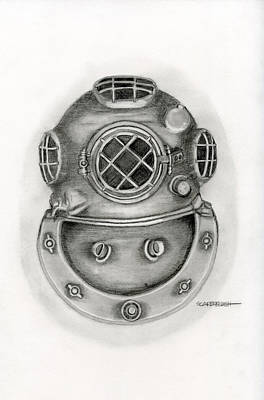 Cast Iron Drawing - Diving Helmet by Larry Scarborough