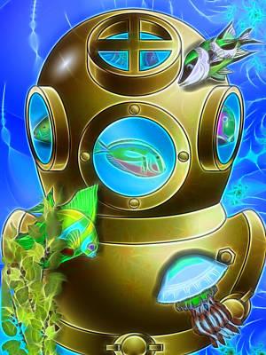 Diving Helmet Digital Art - Diving by Sharon and Renee Lozen