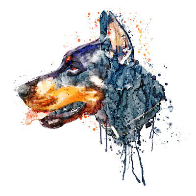 Doberman Digital Art - Doberman Head by Marian Voicu