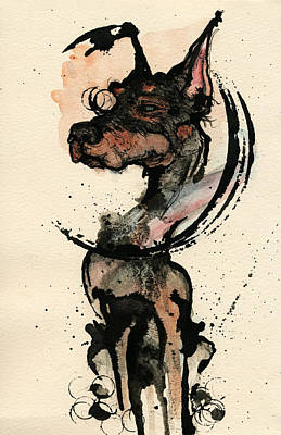 Ink Painting - Doberman by Mark M  Mellon