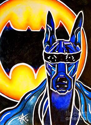Doberman Superhero Bat Original by Jackie Carpenter