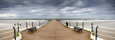 Dock With Benches, Saltburn, England Print by John Short