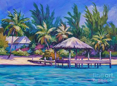 Bahamas Landscape Painting - Dock With Thatched Cabana by John Clark