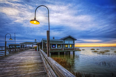 Sunset At The Bridge Photograph - Docks At Nightfall by Debra and Dave Vanderlaan