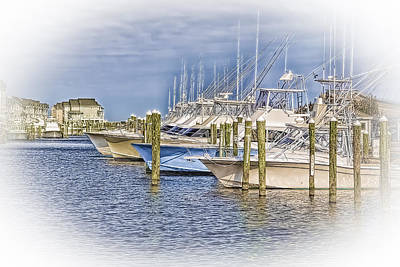 Docks In Manteo Print by Marion Johnson