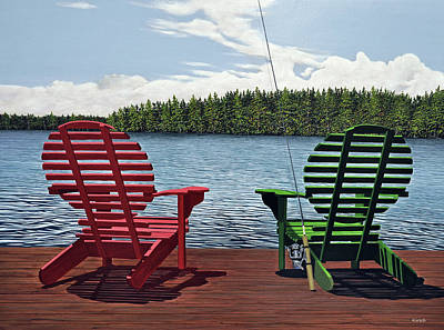 Muskoka Painting - Dockside by Kenneth M  Kirsch