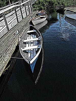 Canoe Digital Art - Dockside Quietude by Tim Allen