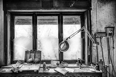 Doctors Cabinet Detail - Abandoned Building Print by Dirk Ercken