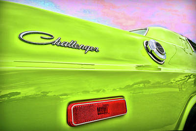 Dodge Challenger In Sublime Green Print by Gordon Dean II
