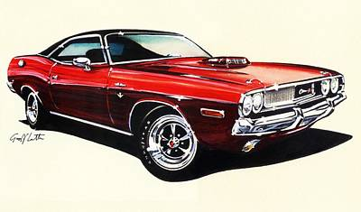 Dodge Challenger Rt Us Pony Car Print by Geoff Latter