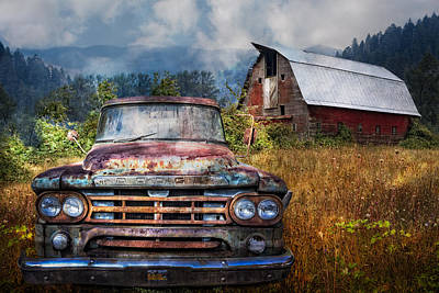 Gold Horse Photograph - Dodge Truck On The Farm by Debra and Dave Vanderlaan