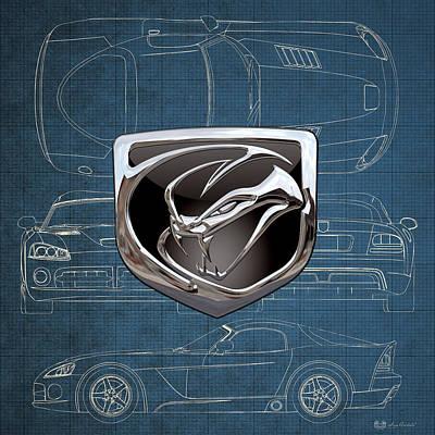 Dodge Viper  3 D  Badge Over Dodge Viper S R T 10 Blueprint  Original by Serge Averbukh