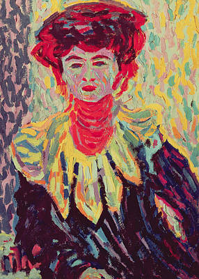 Dodo Or Isabella With A Ruffed Collar Print by Ernst Ludwig Kirchner