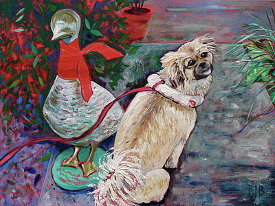 Tibetan Spaniel Painting - Dog And Duck by Linda J Bean