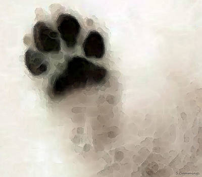 Contemporary Digital Art - Dog Art - I Paw You by Sharon Cummings