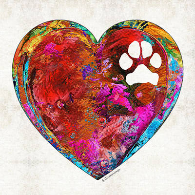 Paw Painting - Dog Art - Puppy Love 2 - Sharon Cummings by Sharon Cummings