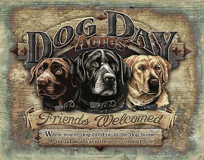 Labs Painting - Dog Day Acres Sign by JQ Licensing