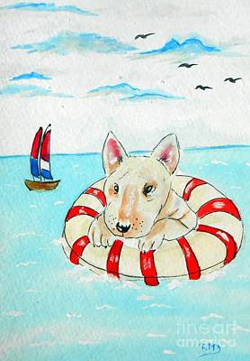 Watercolor Painting - Dog In Lifesaver by Rita Drolet