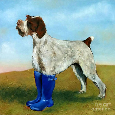 Dog In Landscape Painting - Dog In Wellies by De Selby