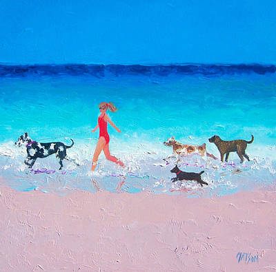 Dog Jog Print by Jan Matson